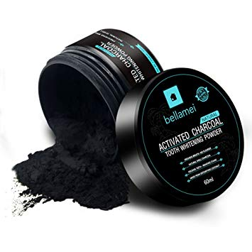 Bellamei All Natural Activated Coconut Charcoal Teeth Whitening Powder Gently Removes Tabaco,...