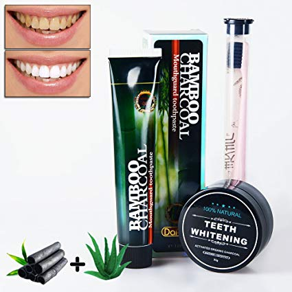 Naturally Teeth Whitening 3 in 1 Kit,LinkS 120g Activated Bamboo Aloe Charcoal Toothpaste, 30g Activated Charcoal Powder With Little Toothbrush