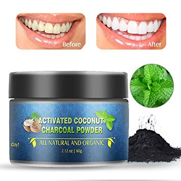 Charcoal Teeth Whitening Powder, Herwiss Teeth Whitening Toothpaste, Natural Organic Coconut Activated...